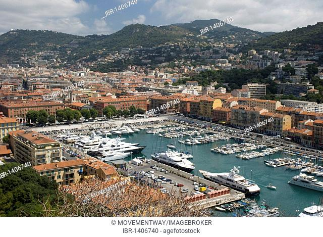 View from the Colline du Chateau of the harbor, Nice, Cote d'Azur, Provence-Alpes, France, Europe