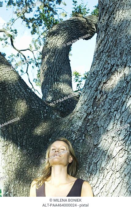 Blonde woman leaning against tree, eyes closed, low angle view