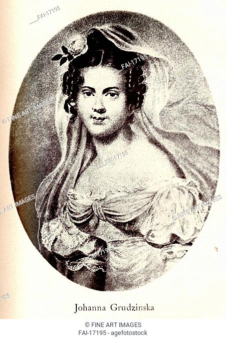 Portrait of Joanna Grudzinska. Anonymous . Lithograph. Classicism. Early 19th cen. . Private Collection. Graphic arts