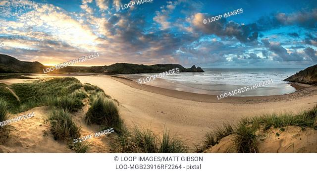 Beautiful Summer morning landscape over yellow sandy beach