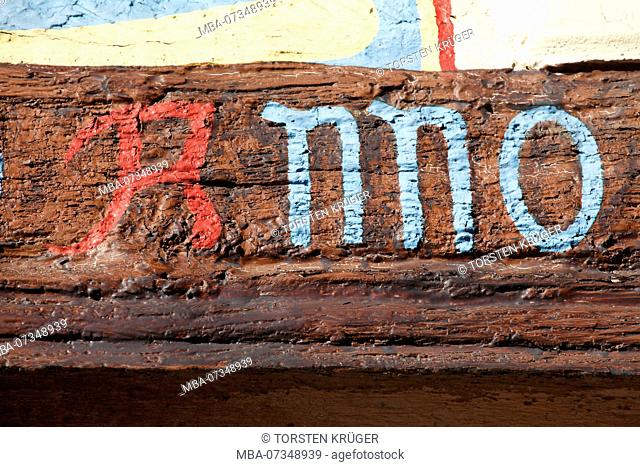 Painted timbered beam with inscription Anno, Historical half-timbered house, Old Town, Verden, Lower Saxony, Germany, Europe