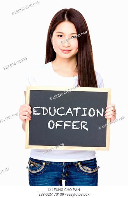 Asian young woman hold with chalkboard showing education offer
