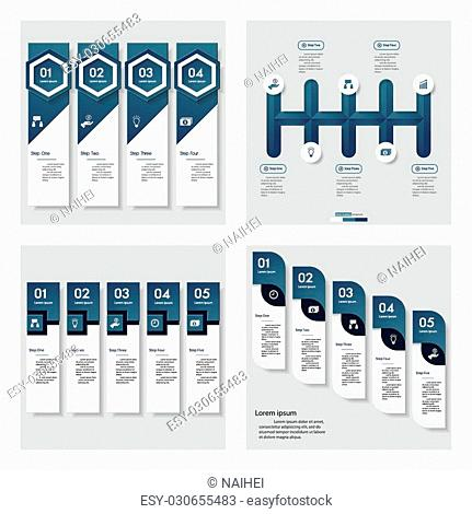 Collection of 4 blue color template/graphic or website layout. Vector Background. For your idea and presentation