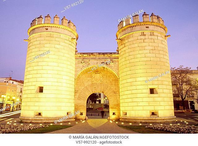 Puerta de Palmas, night view. Badajoz, Extremadura, Spain