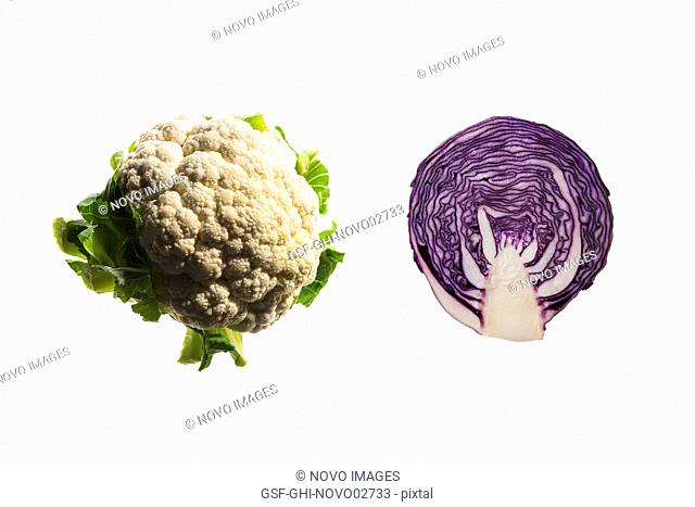 Cauliflower and Red Cabbage on White Background
