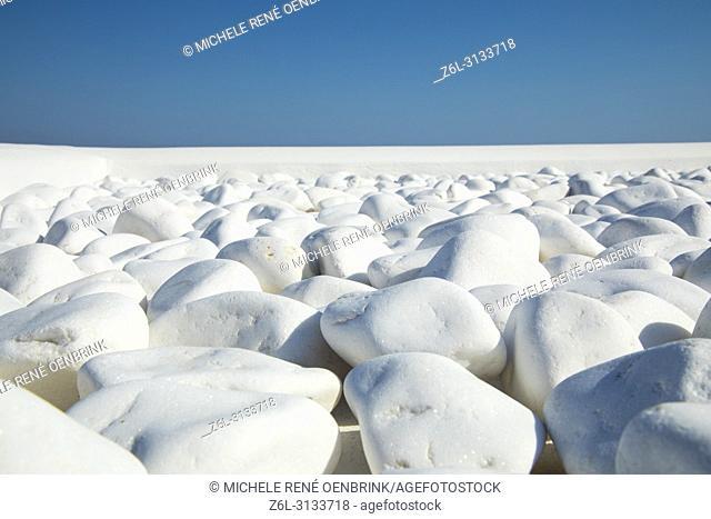 White rocks in Oia Santorini Greece