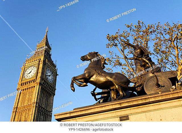 The Boadicea statue and Big Ben clocktower, London, UK