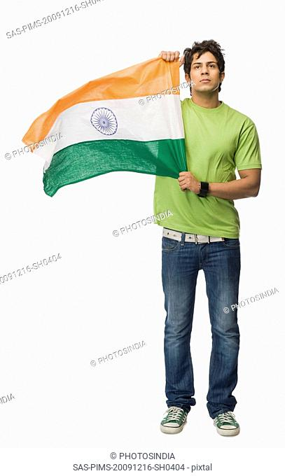 Man holding an Indian flag
