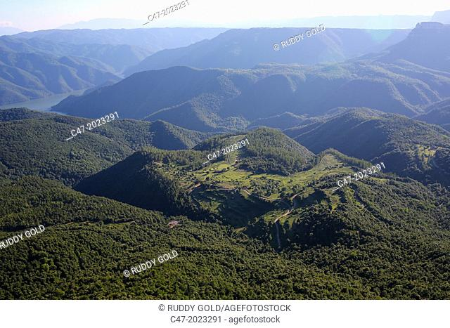 View from El Far (Susqueda) over the Brugent del Ter valley, La Selva area, Girona province, Catalonia, Spain