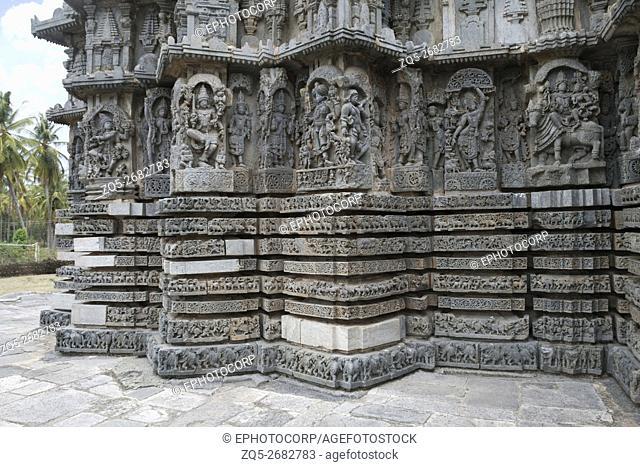 Ornate bas relieif and sculptures of Hindu deities, Kedareshwara Temple, Halebid, Karnataka, india
