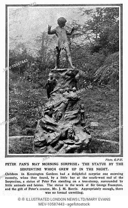 Photograph from the ILN announcing the arrival of the statue of Peter Pan in Kensington Gardens, by Sir George Frampton, which appeared magically one morning (1...