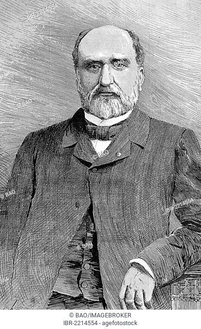Eudore Pirmez, 1830 - 1890, Belgian statesman, historic wood engraving, about 1888