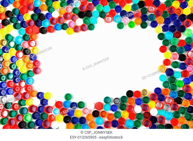 color caps as plastic background