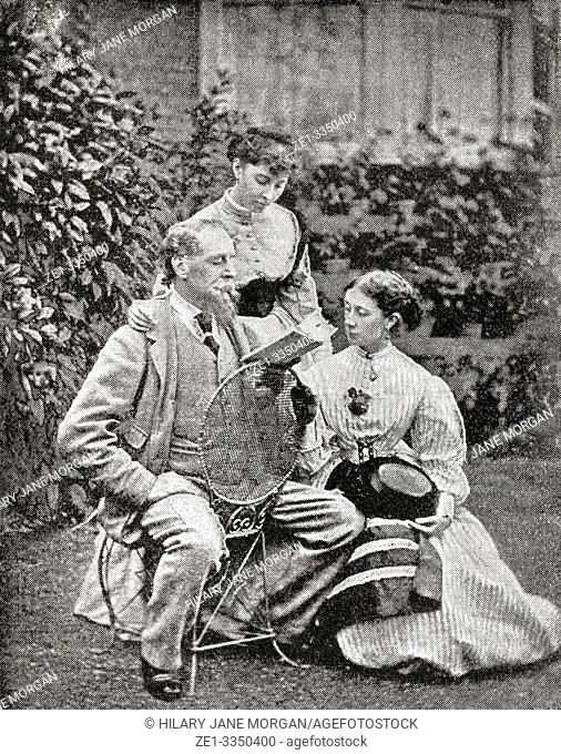 Charles Dickens reading to his daughters in 1845. English writer and social critic of the Victorian era. From The Strand Magazine