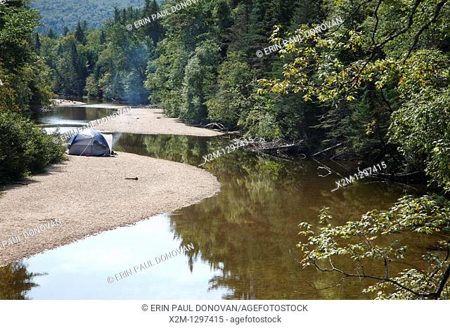 Camp site along the Swift River in Albany, New Hampshire USA
