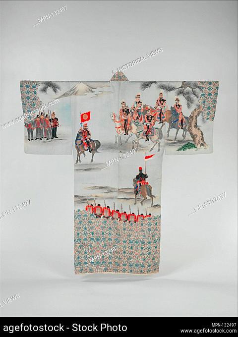 白地日露戦争講和図長襦袢/Man's Under-Kimono (Nagajuban) with Scene of the Russo-Japanese War featuring General Nogi