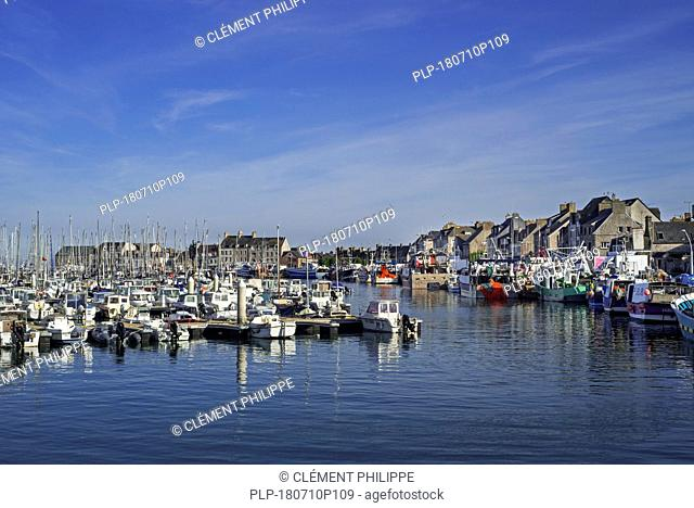 Pleasure boats and fishing boats / trawlers in the harbour of Saint-Vaast-la-Hougue, Manche department, Normandy, France