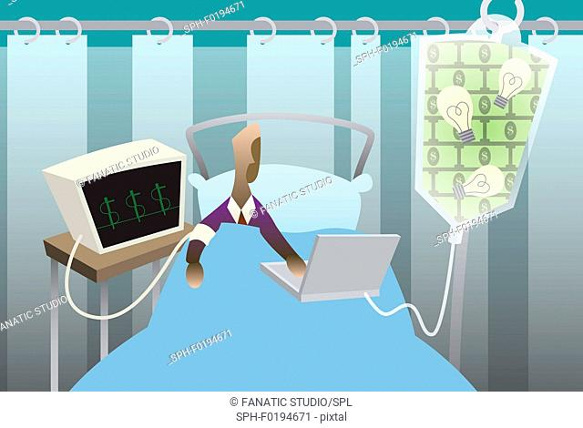Businessman using a laptop in a hospital bed, illustration