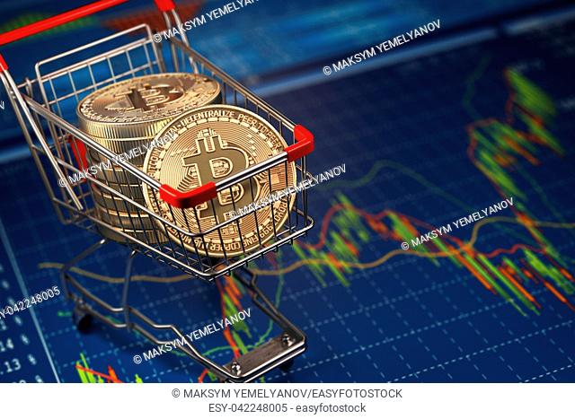 Bitcoin BTC coins in the shopping cart on the financial diagram. Cryptocurrency market concept. 3d illustration