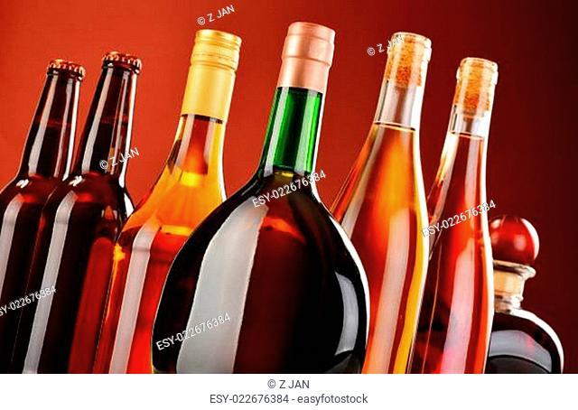 Bottles of assorted alcoholic beverages