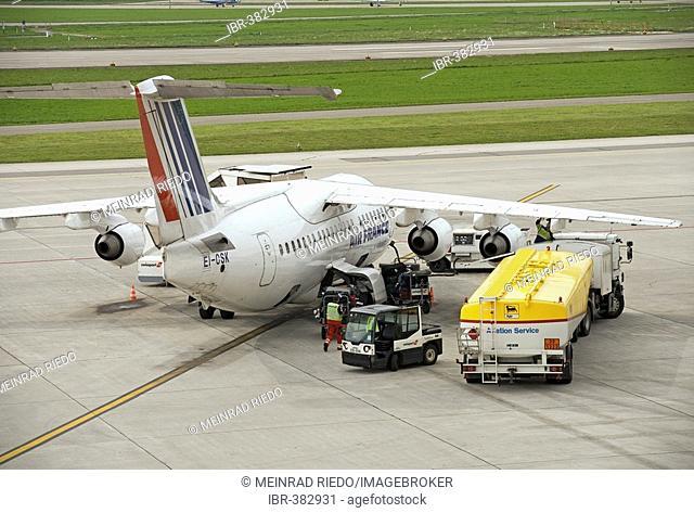 Refueling, Air France plane, Zuerich Airport, Switzerland, Europe
