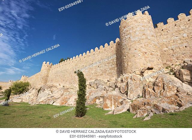 Scenic medieval city walls of Avila on a sunny day, Spain