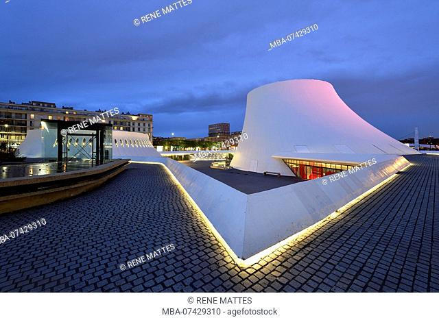 France, Seine Maritime, Le Havre, city rebuilt by Auguste Perret listed as World Heritage by UNESCO, Space Niemeyer, Le Volcan (The Volcano) by architect Oscar...