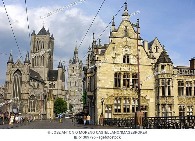 St. Nicholas' Church and Lakenhalle from St. Michael's bridge, Ghent, Flanders, Belgium, Europe