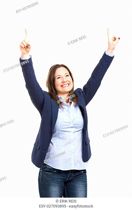 Happy business woman, isolated over white background