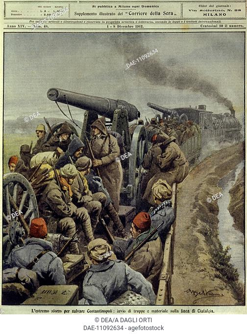 History, 20th century, Balkan Wars (1912-1913) - Last effort to save Constantinople sending troops and goods to Ciafalda line