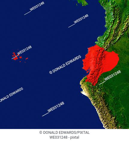 Highlighted satellite image of Ecuador