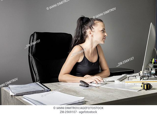 Businesswoman on her desk
