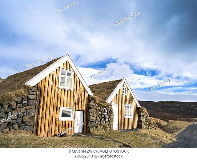The old farm Sel with traditional turf roofing, now a Museum, in Vatnajoekull NP during winter. To protect it from the huge floodings of the Skeitherarsandur