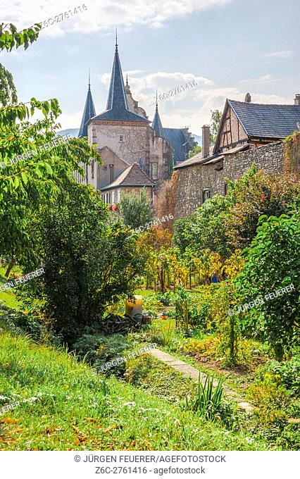 Kientzheim with medieval town wall, next to Kaysersberg, scenic village, route of vine Alsatian, Alsace, France