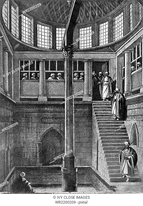 Shown in this 1903 illustration is the interior of the Nilometer on the Island of Rhodes as it appeared in History of Egypt by French Egyptologist Gaston...