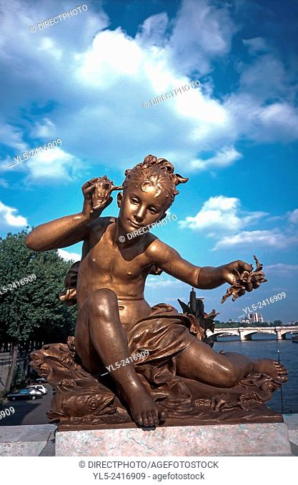 Paris, France - Public Art, Monument, Alexandre III Bridge, Renovated Sculpture
