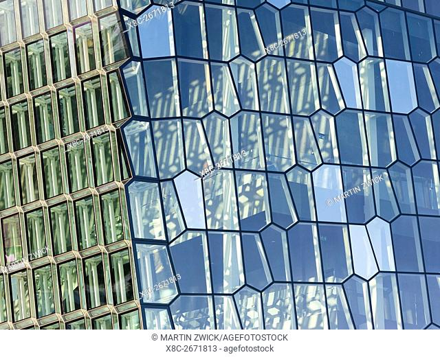 Reykjavik, Harpa, the new concert hall and conference center (inaugurated in 2011), details of the facade. The buidling is one of the new architectural icons of...