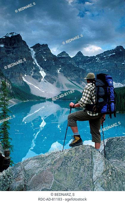Hiker at Moraine Lake Banff national park Alberta Canada