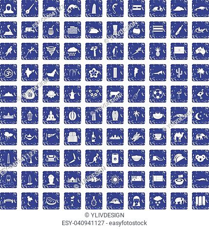 100 exotic animals icons set in grunge style sapphire color isolated on white background vector illustration