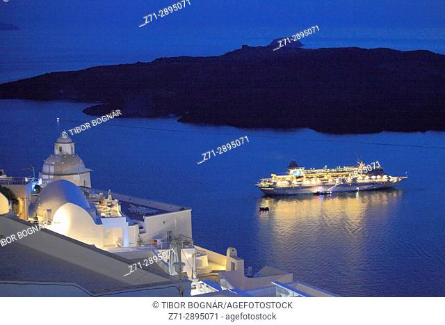Greece, Cyclades, Santorini, cruise ship, Nea Kameni island