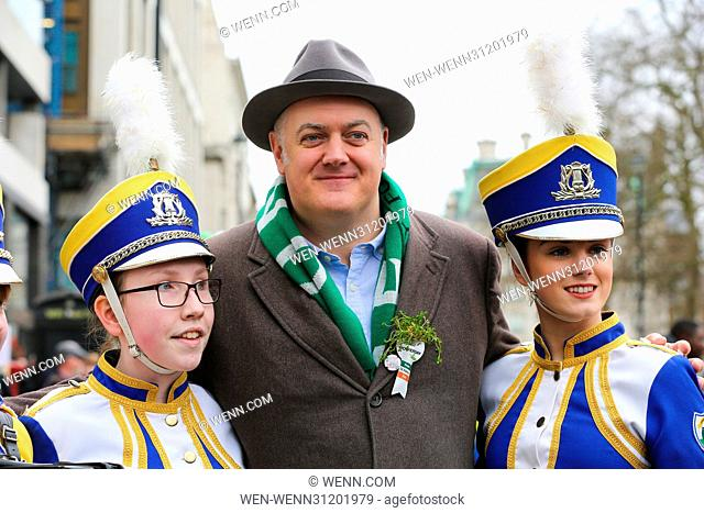Hundreds of people attend the annual St Patrick's Day celebrations in Trafalgar Square, London Featuring: Dara O'Briain Where: London