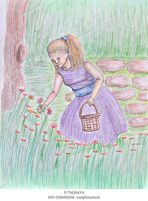 flower girl, colored pencils