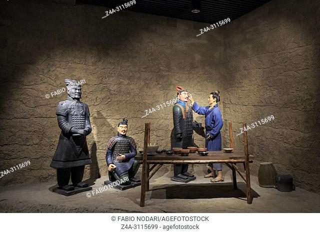 Wuxi, China - May 4, 2018: Clay statues in the clay figurines museum