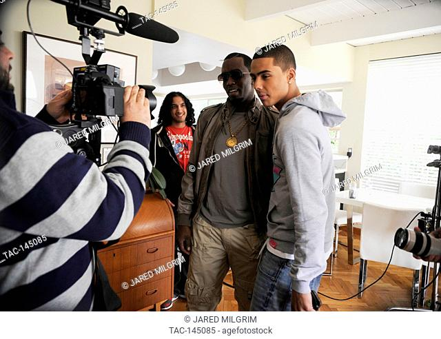 """Quincy Brown and Diddy on set of Quincy Brown """"""""Stay Awhile"""""""" music video in Los Angeles, California"""