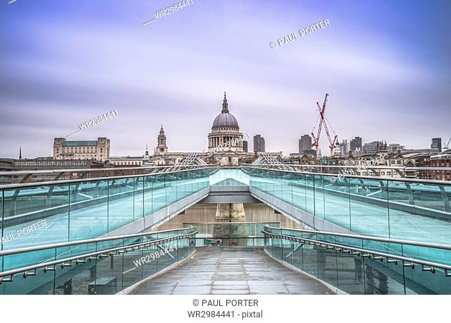 Blue sky over St. Paul's Cathedral and The Millennium Bridge, London, England, United Kingdom, Europe