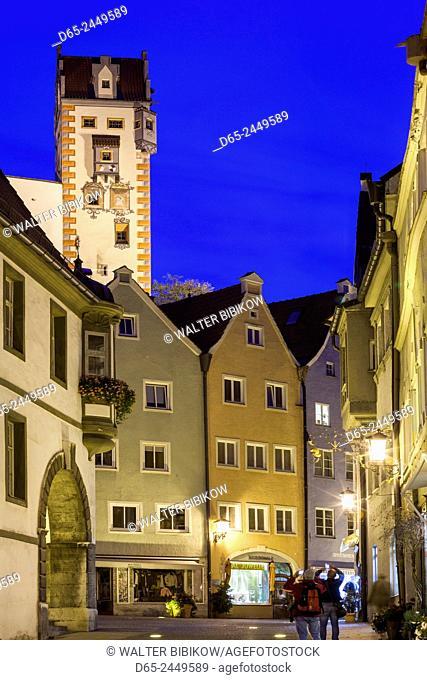 Germany, Bavaria, Fussen, Hohes Schloss Castle clocktower, dusk