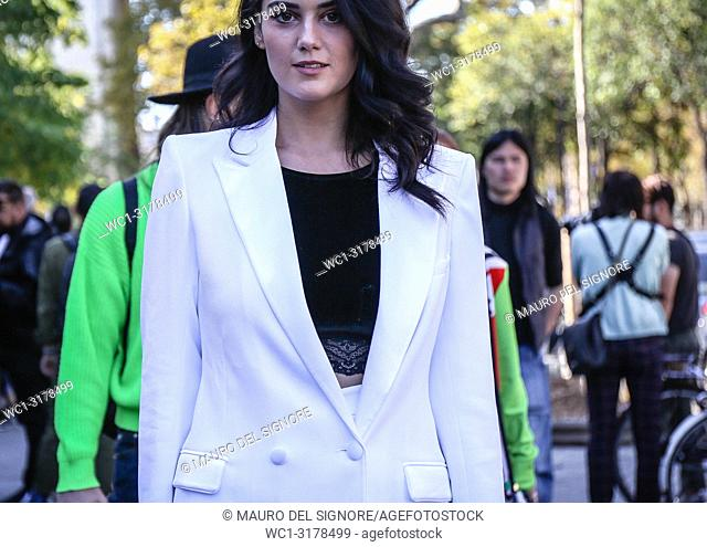PARIS, France- September 26 2018: Catherine Poulain on the street during the Paris Fashion Week