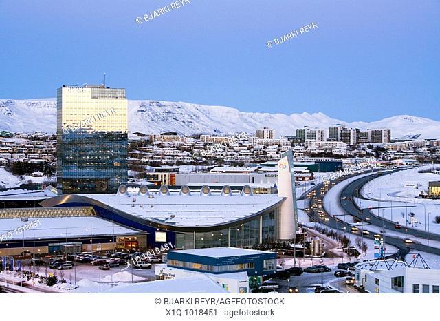 'Smaralind' shopping center and 'Turninn' office building  Kopavogur, Iceland