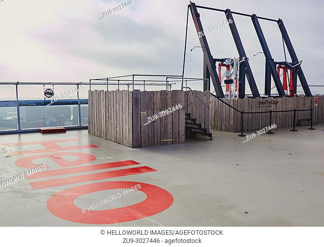 Over The Edge, A'dam Lookout, A'dam Toren, Overhoeks, Amsterdam-Noord, Amsterdam, Netherlands. . Europe's highest swing located on the 20th floor observation...