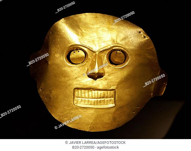 Golden mask, Museo del Oro, Gold Museum, Bogota, Cundinamarca, Colombia, South America